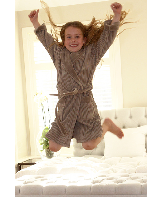 SPECIAL OFFER: Soft children's bathrobe, Egyptian cotton, stone, Vancouver
