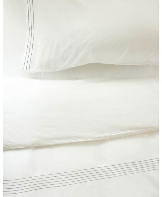 Duvet cover white embroidered stripes, sateen, 300 TC, Cape Cod