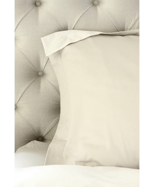 Duvet cover stone and white, sateen, 300 TC, Carmel
