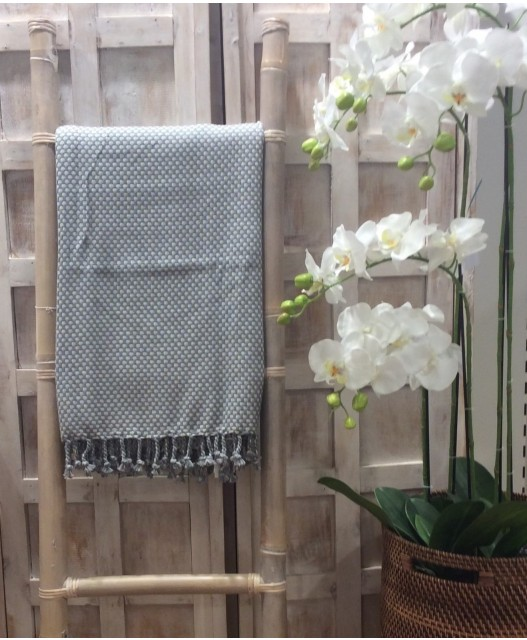 Plaid from lambswool, grey, 140x190
