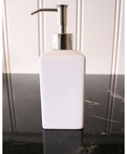 Soap dispenser square, white/stone, 18.5x6.5, Seychelles